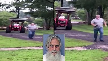 """""""Omul cu tractorul"""". Un bărbat în vârstă de 72 de ani și-a speriat vecinul, după ce a avut cu el o dispută aprinsă"""